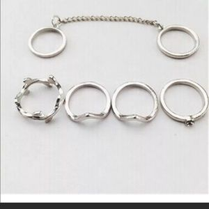 Jewelry - Sale 2/$30 Trendy Bohemian Silver Ring Set New
